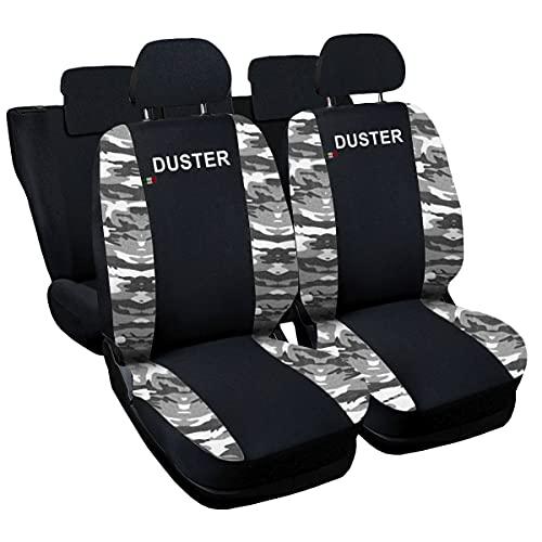 Lupex Shop Duster_N.Mch Housses de siège Deux-colorés pour Dacia Duster - Noir Camouflage Clair