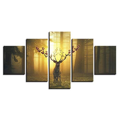 YB Wohnkultur Canvas HD Prints Wandkunst Afbeeldingen 5 stuks jungle-dier landschap Sikawild Schilderij Flower 25x38cm-2p 25x50cm-2p 25x63cm-1p No Frame