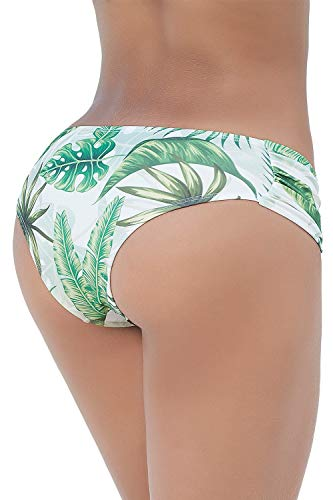 Mapale 6851 Waistband Ruched Panty Swimsuit Bottom Color Rainforest Size L