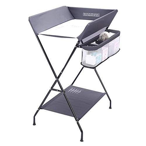 JALAL Table à Langer Pliante - Nursery Restroom Boys Infants Baby Diaper Station with Safety Straps, Easy to Clean, Grey