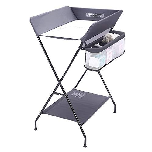 Klappbarer Wickeltisch - Kinderzimmer Toilette Jungen Kleinkinder Baby Windelstation mit Sicherheitsgurten, leicht zu reinigen, grau