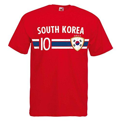 Fußball WM T-Shirt Fan Artikel Nummer 10 - Weltmeisterschaft 2018 - Länder Trikot Jersey Herren Damen Kinder Süd Korea South Korea XXL