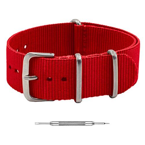Benchmark Basics Correa de reloj de nailon balístico impermeable de una sola pieza correas de reloj militares para hombres y mujeres, elección de color y ancho – 18 mm, 20 mm,...