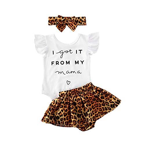 Conjunto de bebé de 0 a 24 meses, de verano, 3 piezas, con cuello redondo y manga corta + pantalones cortos de cintura alta con estampado floral/leopardo con banda Blanco + Leopardo Marrón 0-6 Meses