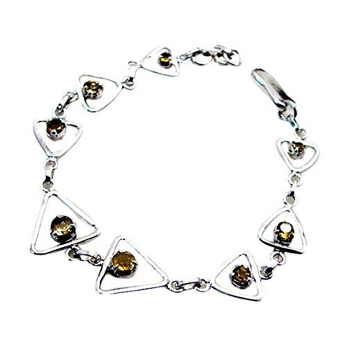 Jewelryonclick - Pulseras de Plata de Ley para Mujer, Diseño de Citrino Natural