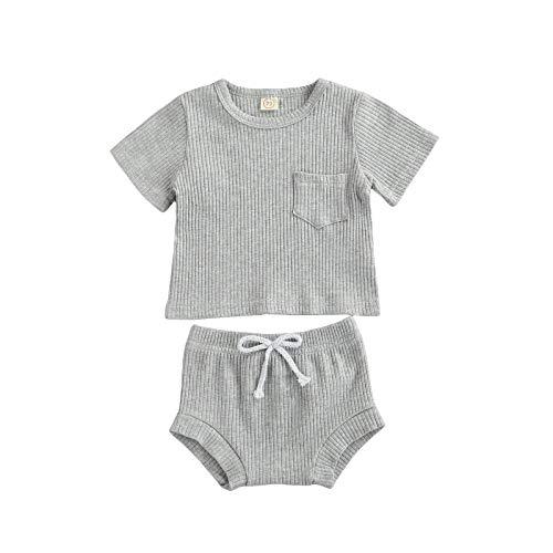 Conjunto de ropa de verano para recién nacidos y niñas con bolsillo y pantalones cortos, unisex, 2 unidades