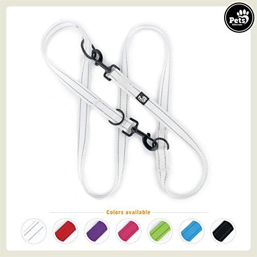 Pets&Partner® Hundeleine aus Nylon/Doppelleine in verschiedenen Farben für mittelgroße und große Hunde farblich passend zu Halsband und Geschirr, Weiß