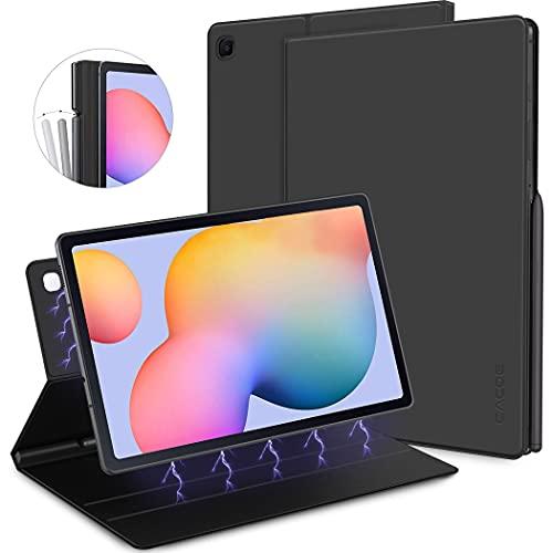 CACOE Hülle Kompatibel mit Samsung Galaxy Tab S6 Lite, Ultradünne Schutzhülle mit Intelligenter Magnetabdeckung und Stifthalter und Aufwachen für Samsung S6 Lite 10,4 Zoll 2020 Tablet, Schwarz