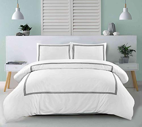 My Home Store Duvet Cover Hotel Quality 200TC Bedding Set Duvet Sets Soft Breathable 100% Poly Cotton Quilt Cover with Pillowcases (Bratta Stitch White/Black, Double)