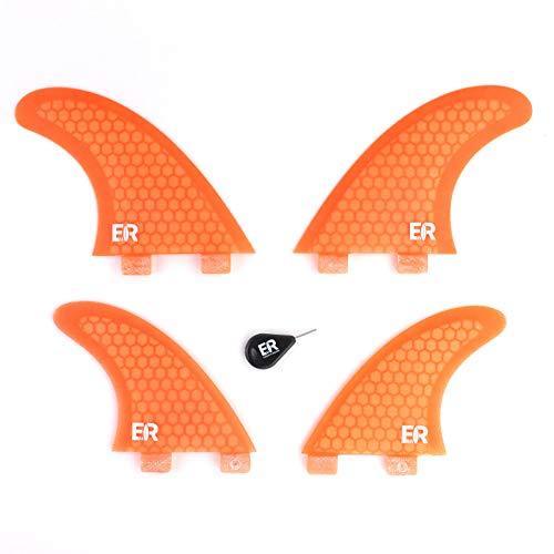 Eisbach Riders Surfboard FCS Honeycomb Quad Fin Set con aletas para tabla de surf y SUP (naranja)