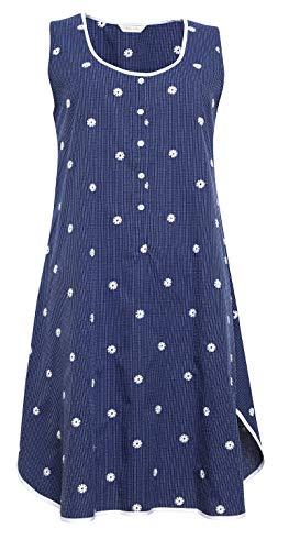 Cyberjammies Womens Navy Blue Nachtkleding ~ Mouwloze Nachtjapon Witte Streep & Bloem ~ Ellen (1360)