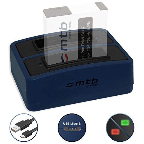 Mini-Dual-Ladegerät (USB) für Panasonic DMW-BLH7(E) / Lumix DC-GX800 / DMC-GF7 / DMC-GM1, GM5 / DMC-LX15 - inkl. Micro-USB-Kabel (2 Akkus gleichzeitig ladbar)