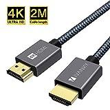 iVANKY - Cavo HDMI 4K UHD 2160p e 1080p Supporta Ethernet 3D ARC HDR in Nylon Intrecciato 2m