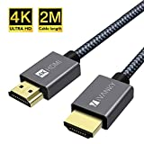 Câble HDMI 4K, iVANKY Câble HDMI 2m, 4K@60Hz 2K@144Hz 1080P, HDMI Plaqué Or en Nylon Tressé, Supporte HDR/Ethernet/3D/Retour Audio/Netflix,Prise HDMI 4K 2m pour Lecteur Blu-Ray/Xbox/PS3/PS4/TVHD