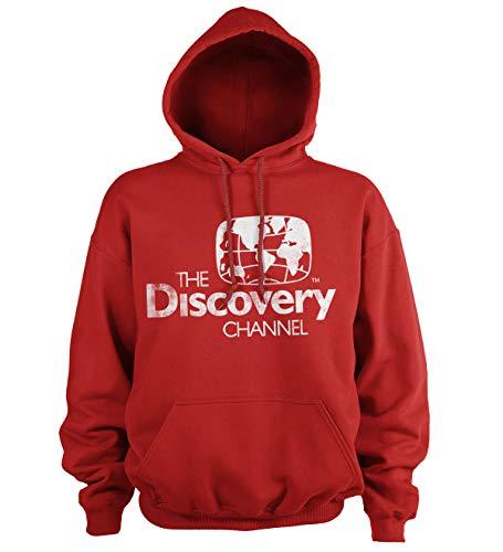 Discovery Officiellement sous Licence Channel Distressed Logo Sweat À Capuche (Rouge), XXL