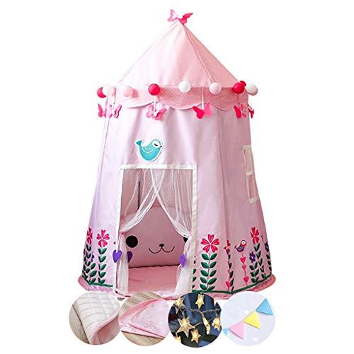 Tiendas de Niños Carpa De Juegos para Niños Y Niñas, Carpa para Niños Plegable con Tapetes Y Decoraciones, Espacio Interior Independiente para Niños, 110x150cm, 2 Colores (Color : Pink)
