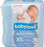 babylove Windeln Premium extra weich Größe XS, newborn bis 3kg, 1 x 24 St