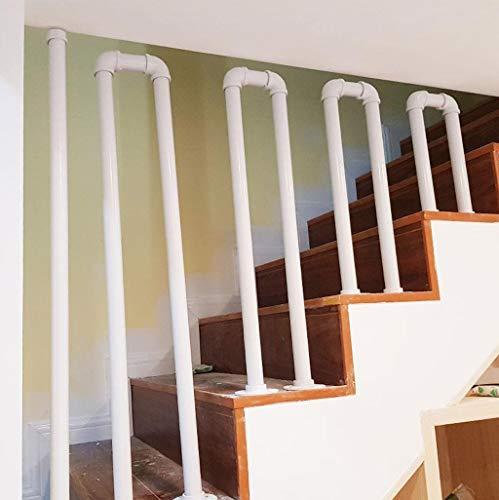 YUDE-U Barandilla de Escalera, tubería galvanizada de Hierro Forjado, barandilla Antideslizante en Forma de tubería de Agua Blanca, Adecuada para Barras, escaleras (Opcional de Varios tamaños)
