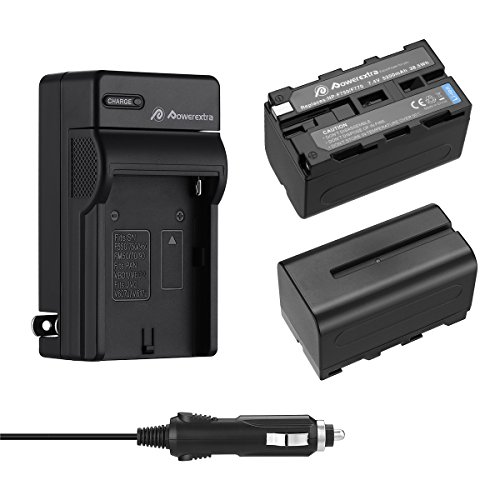 Powerextra 2 Pack Replacement Sony NP-F750 Battery and Charger for Sony NP-F730, NP-F760, NP-F770 Battery and Sony CCD-TRV215 CCD-TR917 CCD-TR315 HDR-FX1000 HDR-FX7 HVR-V1U HVR-Z7U HVR-Z5U Camcorder