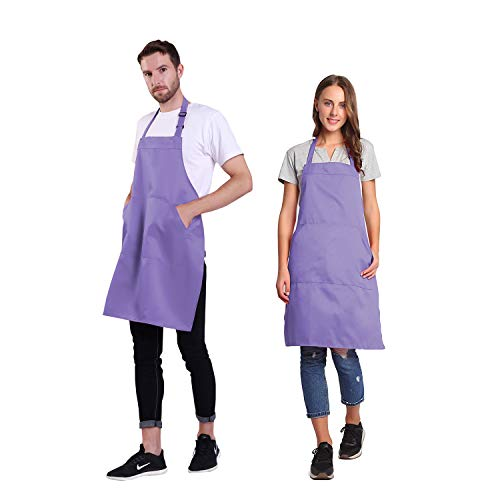 BIGHAS Adjustable Bib Apron with Pocket Extra Long Ties for Women Men, 18 Colors, Chef, Kitchen, Home, Restaurant, Cafe, Cooking, Baking (Lavender)