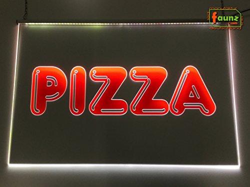 'LED INSEGNA LUMINOSA'Pizza rosso foliert su trasparente o la vostra pubblicità scritta in selezione colore combinato con alimentatore a spina 230V faunz