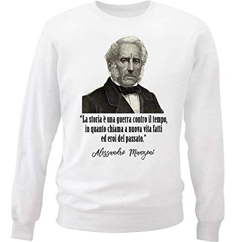 teesquare1st Men's Alessandro Manzoni - La Storia White Sweatshirt Size Large