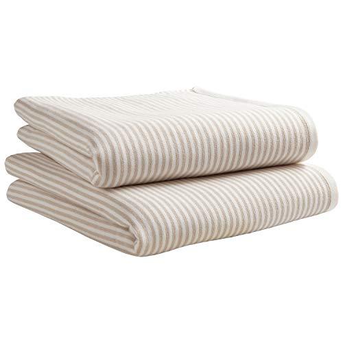 Amazon Brand – Stone & Beam Casual Striped 100% Cotton Bath Towel, Set of 2, Tan and White