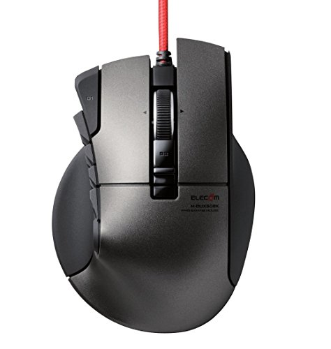 ELECOM Gaming mouse [DUX] Wired 14 button 3500dpi, Supports Hardware macro [Black] M-DUX50BK (Japan Import)