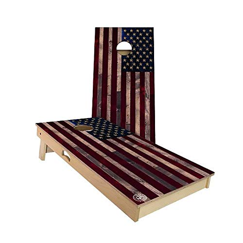 Slick Woody'S Full Color Rustic American Flag Cornhole Set with 8 Cornhole Bags, Baltic Birch Plywood Tops for The Smoothest Flattest Playing Surface, Retractable Legs and Back Bounce Brace