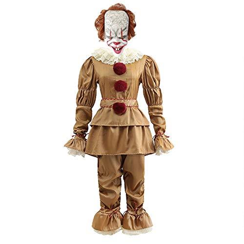 LISI Traje Payaso Pennywise Clown Stephen King Creepy It Cosplay Joker con Pulsera*2 Tobillera*2 Mascarilla*1 Zapatos*2 Conjuntos Completos Halloween Disfraz,B,XL
