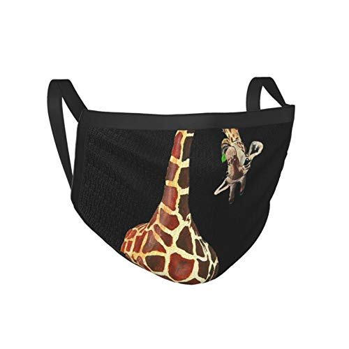 MOLIAN Washable Reusable Cotton Fabric Dust Covering Mouth Covering Unisex Black Dust Cotton  Funny Giraffe