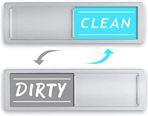 Clean Dirty Dishwasher Magnet Non Scratch Magnetic Silver Signage Indicator for Kitchen Dishes product image