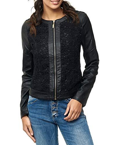 EGOMAXX Damen Leder Jacke mit Spitze Biker Weste Leder Optik Floral, Farben:Schwarz, Größe:42