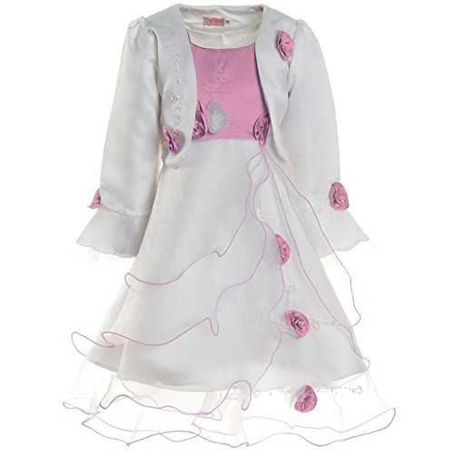 Mädchen Kommunions Kleid Taufkleid Festkleid Kostüm Bolero Rose 21476 Rosa Größe 92
