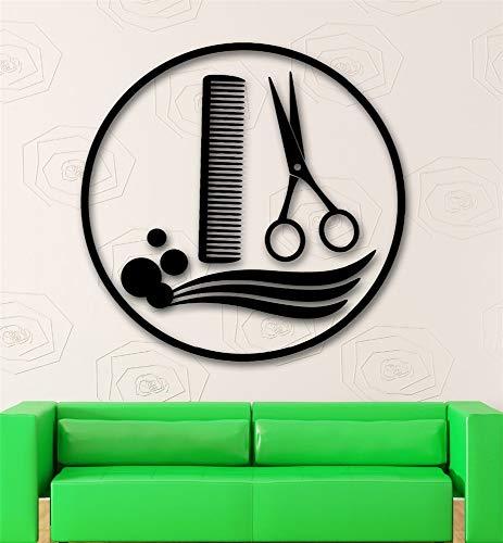 wandaufkleber 3d Wandaufkleber Schlafzimmer Friseur Friseur Friseur Friseur Schere und Kamm Art Aufkleber für Friseursalon