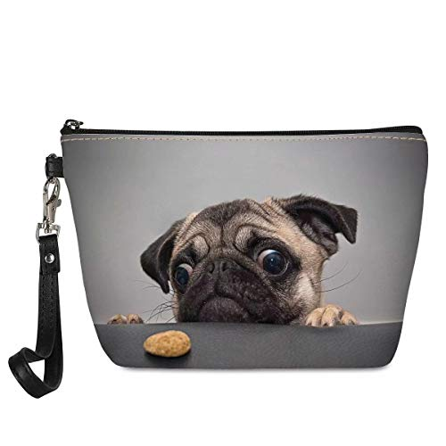 Aulaygo Cute Pug Dog Makeup Bags Women Cosmetic Bags Small for Girls Cosmetic Pouch Pencil Case for Kids Teenagers Travel Bathroom School Gifts