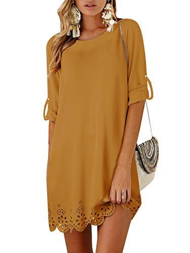 YOINS Damklänningar T-shirt klänning sommarklänning för damer rund hals brudklänning långärmad miniklänning klänning lång skjorta lös tunika med bowknot ärmar