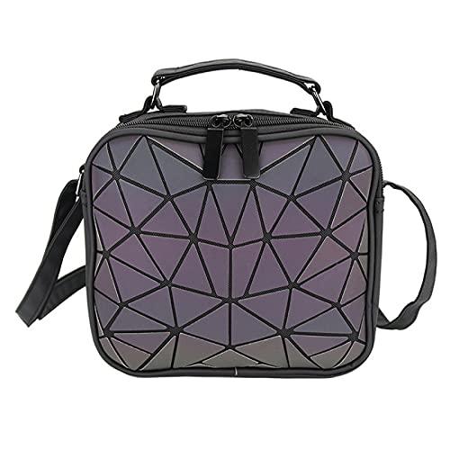 QIANJINGCQ Luminous geometric illusion color one-shoulder diagonal bag fashion all-match handbag personality female messenger backpack
