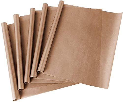 Funxim Carta da Forno Riutilizzabile, 5 Pezzi 40*40cm PTFE Teflon per pressa di Calore trasferimento Foglio Antiaderente Resistente al Calore, Non Si appiccica Olio-Prova Paper Craft Mat