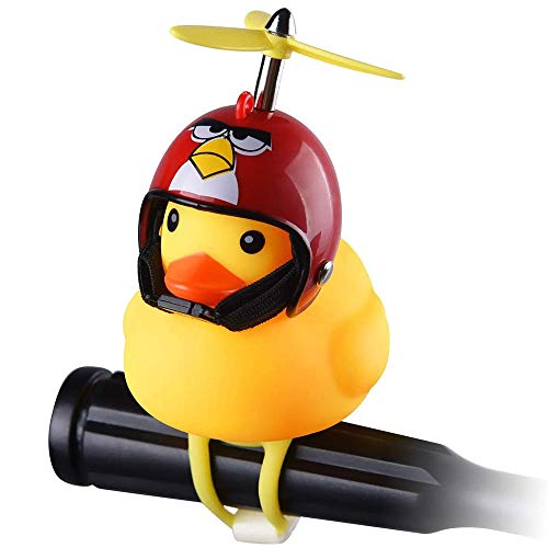 Lovely Rubber Duck Toy car Accessories, Easy to Install, with Silicone Elastic Belt, Propeller Handle, Suitable for Outdoor car Dashboard Decoration (Red)