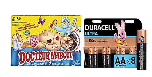 Hasbro Docteur Maboul - Jeu de Societe Docteur Maboul - Jeu éducatif - Version française avec Duracell MX1500 - Ultra Power Piles Alcalines Type AA, Lot de 8 Piles