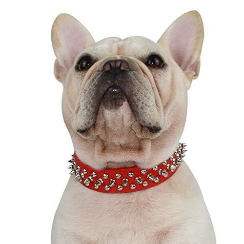 Hifrenchies - Collare per cani con rivetti a spillo e borchie regolabile, in pelle di microfibra, per cani di taglia piccola, media e grande, colore: Rosso