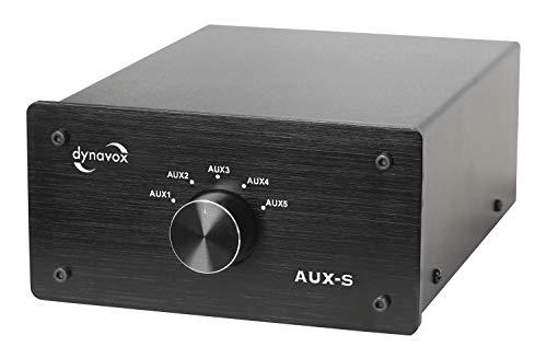 Dynavox AUX-S, Eingangs-Erweiterungs-Umschalter in Metallgehäuse mit 5 Cinch-Eingängen, für Stereo- und Surround-Verstärker, Schwarz