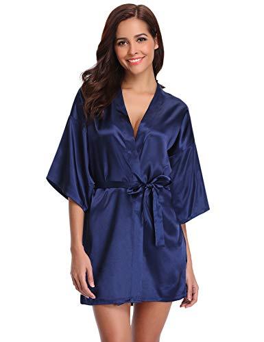 Aibrou Peignoir Satin Femme Robe de Chambre Kimono Femmes Sortie de Bain Nuisette Déshabillé Couleur Pure Vêtements de Nuit pour Fête Mariage Bleu Foncé S: épaule 54cm, Buste 108cm