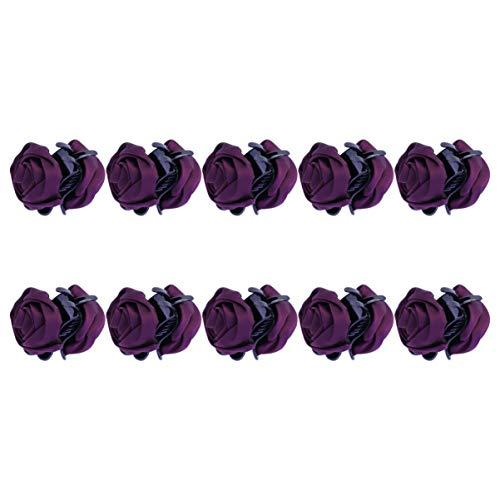 Lurrose 10pcs rose cheveux griffe moyen satin fleur cheveux mâchoire clip mode barrettes de cheveux décoratifs pour les femmes (violet)