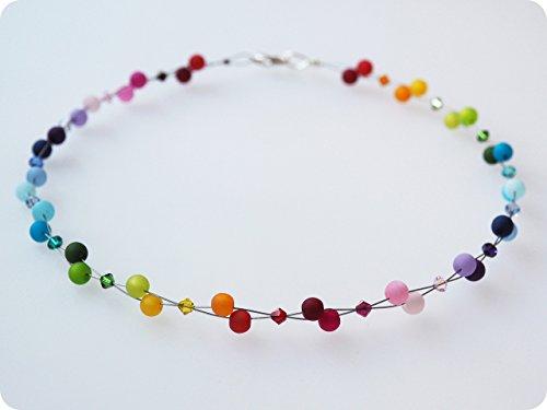 Polariskette Regenbogen bunt Kette mit Swarovski® Kristallen
