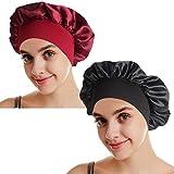 Simoda Satin Floral Night Cap für lockiges Haar Elastisches Band Schlafmütze Haarpflege Satin Haube (#8)