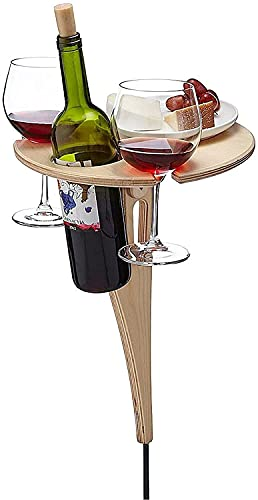 ZRM Portable Outdoor Wine Table, Patio Side Table Outdoor with Foldable Round Desktop, Handcrafted Mini Wooden Picnic Table Stake for Coffee Picnic Garden Porch Balcony Yard (Color : Beige)