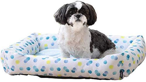 Iris Ohyama, Cama térmica para mascotas / cama cómoda para perros durante todo el año, material aislante, asiento acolchado, bordes, para gato & perro pequeño - Pet Bed Sofa PCSB-20L - Punto
