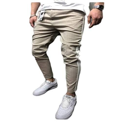 Katenyl Pantalones Casuales con Bloqueo de Color con Costuras para Hombre, Moda, Ropa de Calle, versátil, cómodo, clásico, básico, Ajustado, Pantalones L
